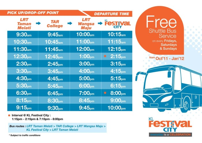 KL Festival City Mall Bus Timetable