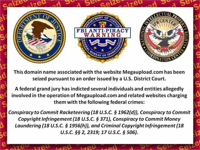 Megaupload website shut down